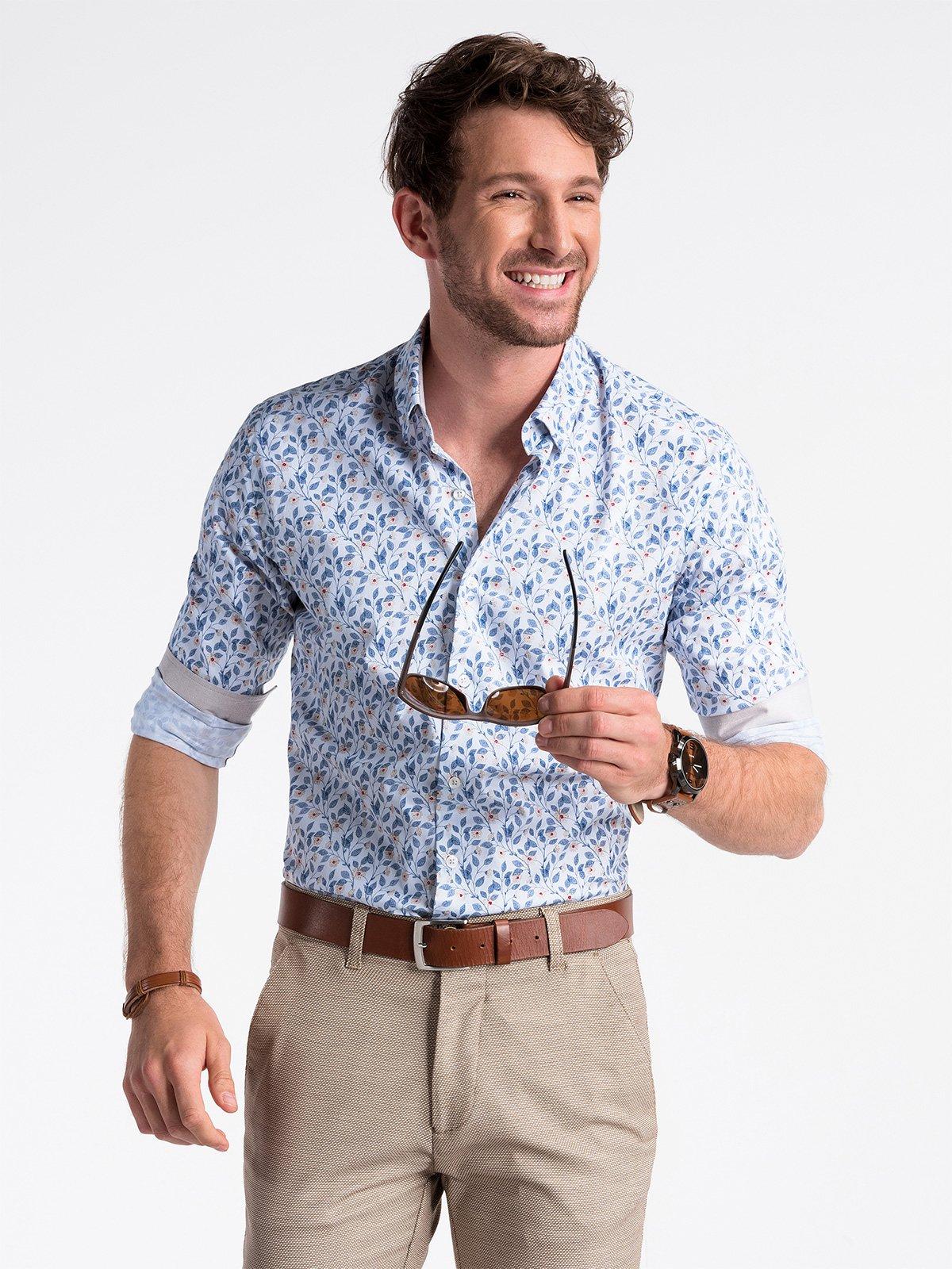 Koszula męska zdługim rękawem K491 - biała/niebieska