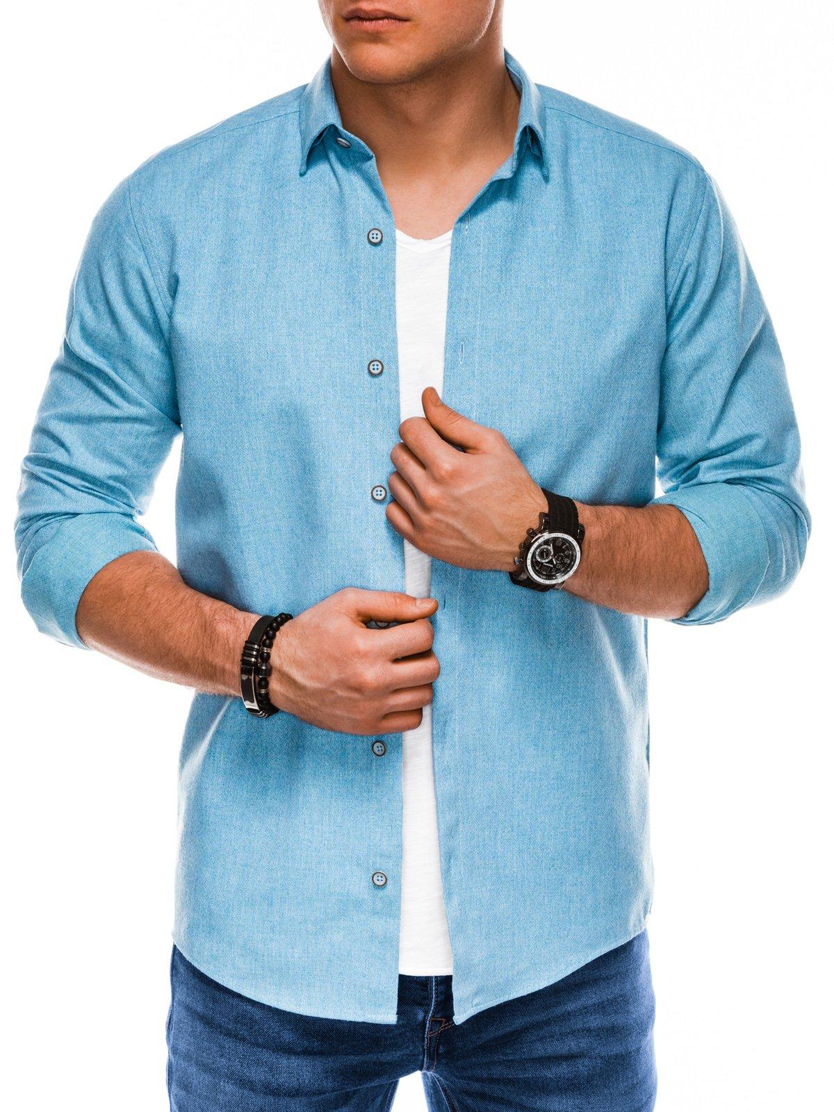 Koszula męska zdługim rękawem K512 - błękitna