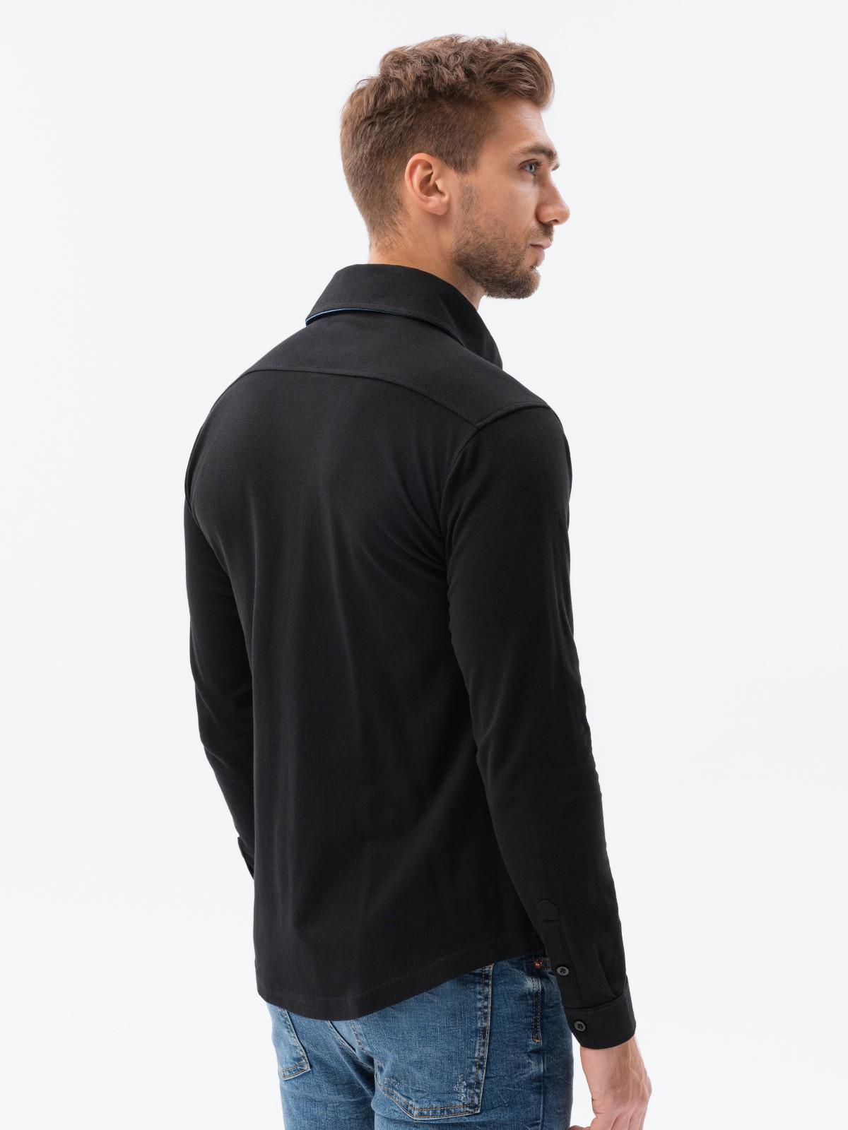 Koszula męska zdługim rękawem K540 - czarna