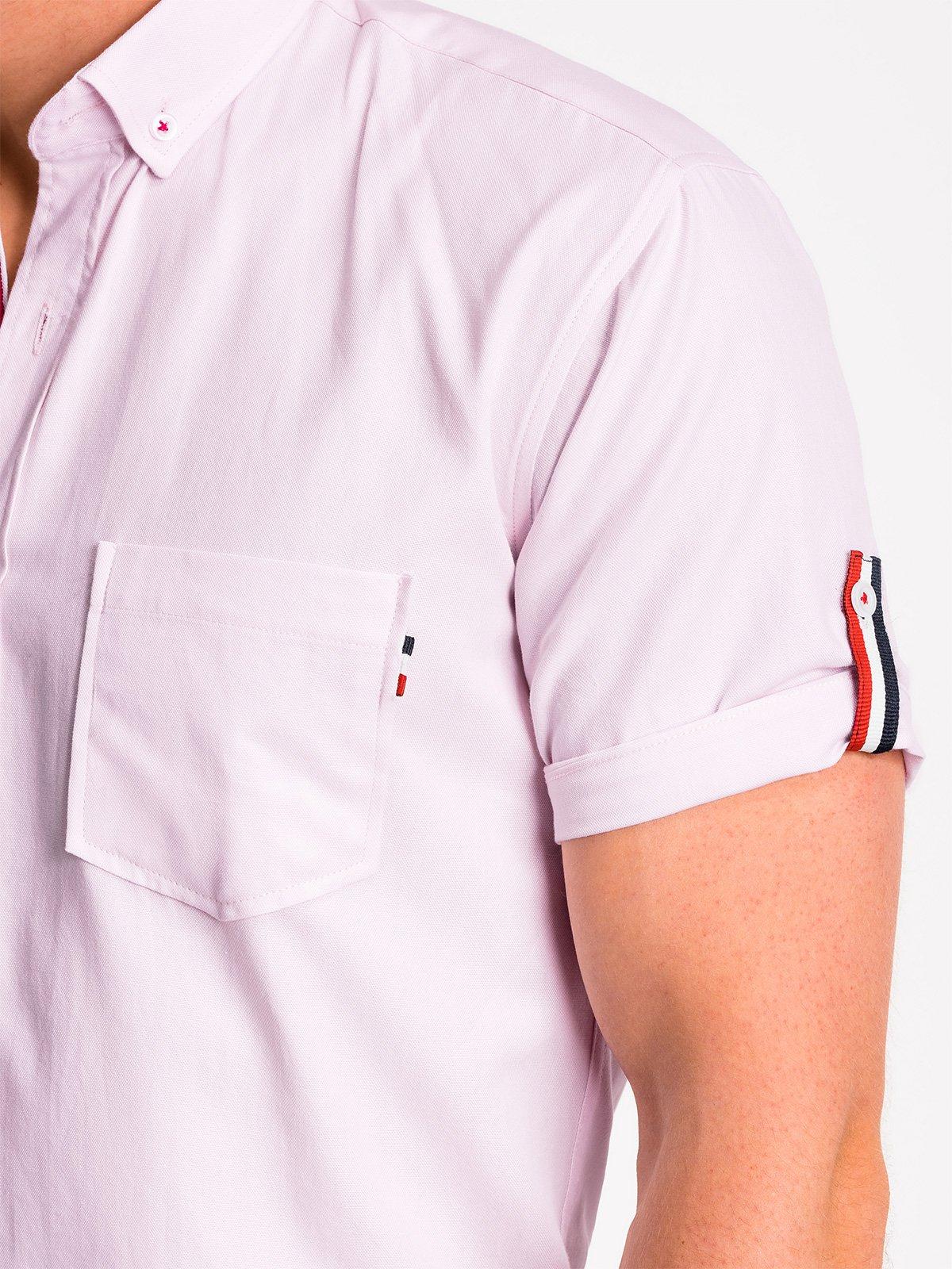 Koszula męska z krótkim rękawem K489 pudrowy róż Ombre