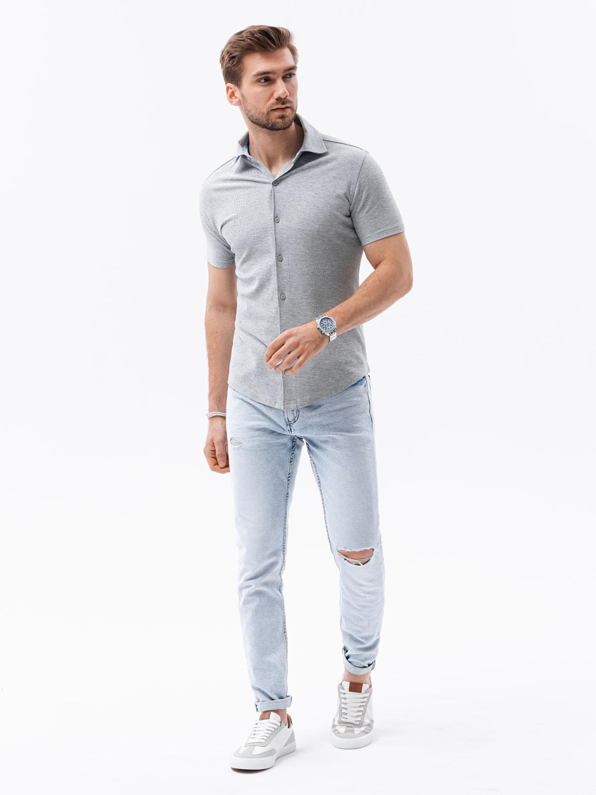Koszula męska zkrótkim rękawem K541 - szara