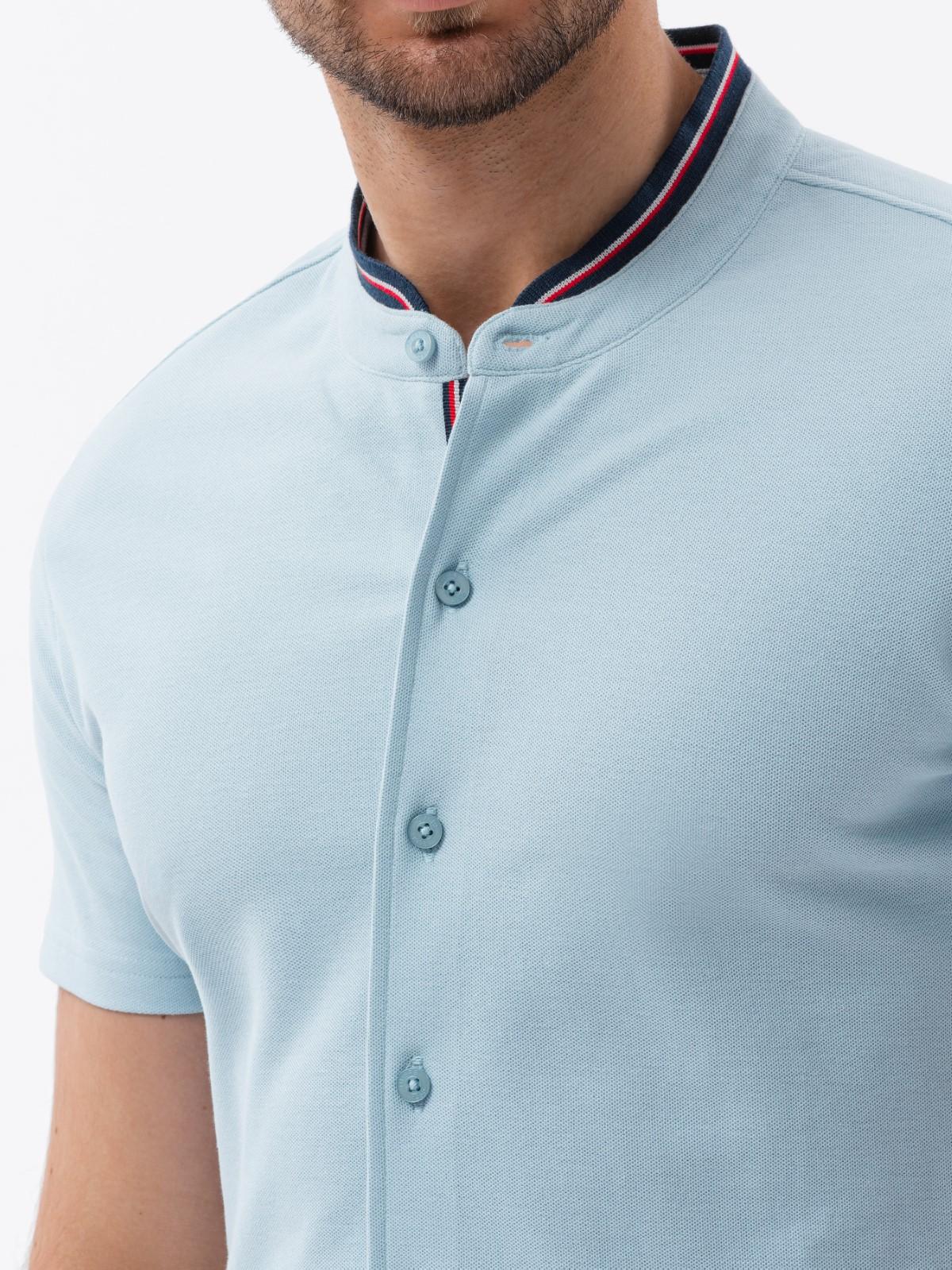 Koszula męska zkrótkim rękawem K543 - niebieska