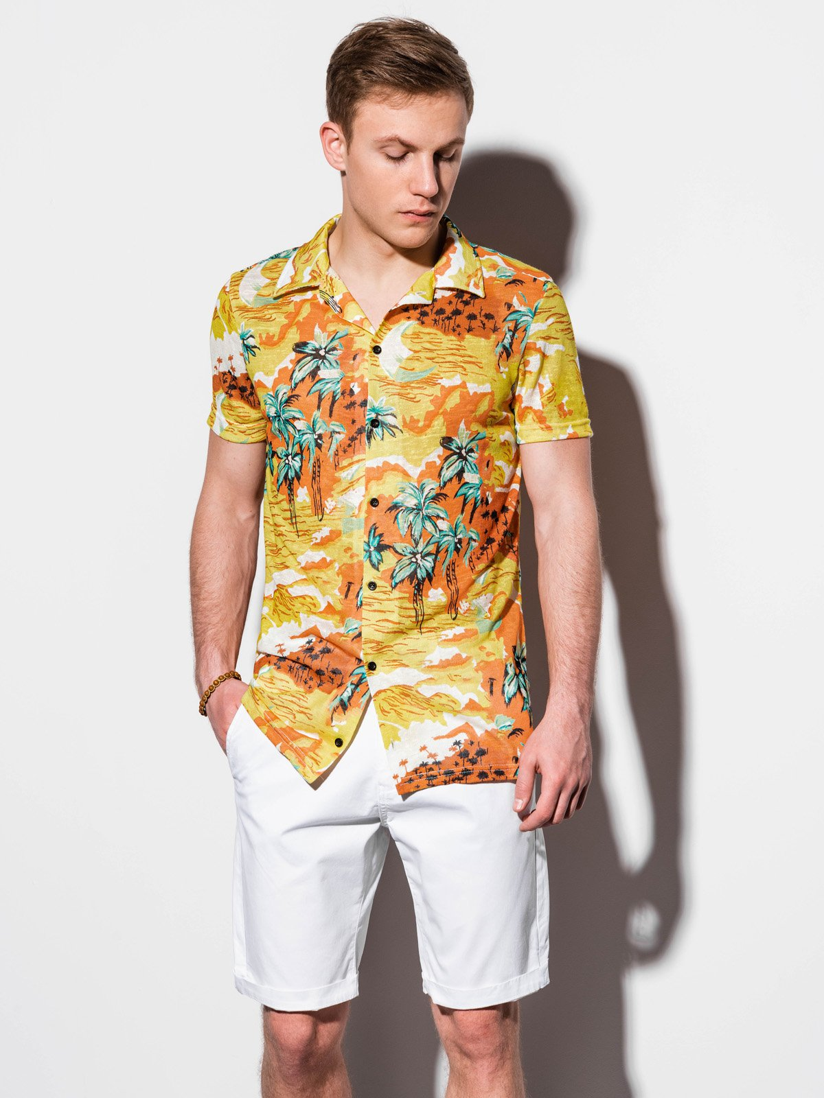 Koszula męska zkrótkim rękawem K548 - żółta