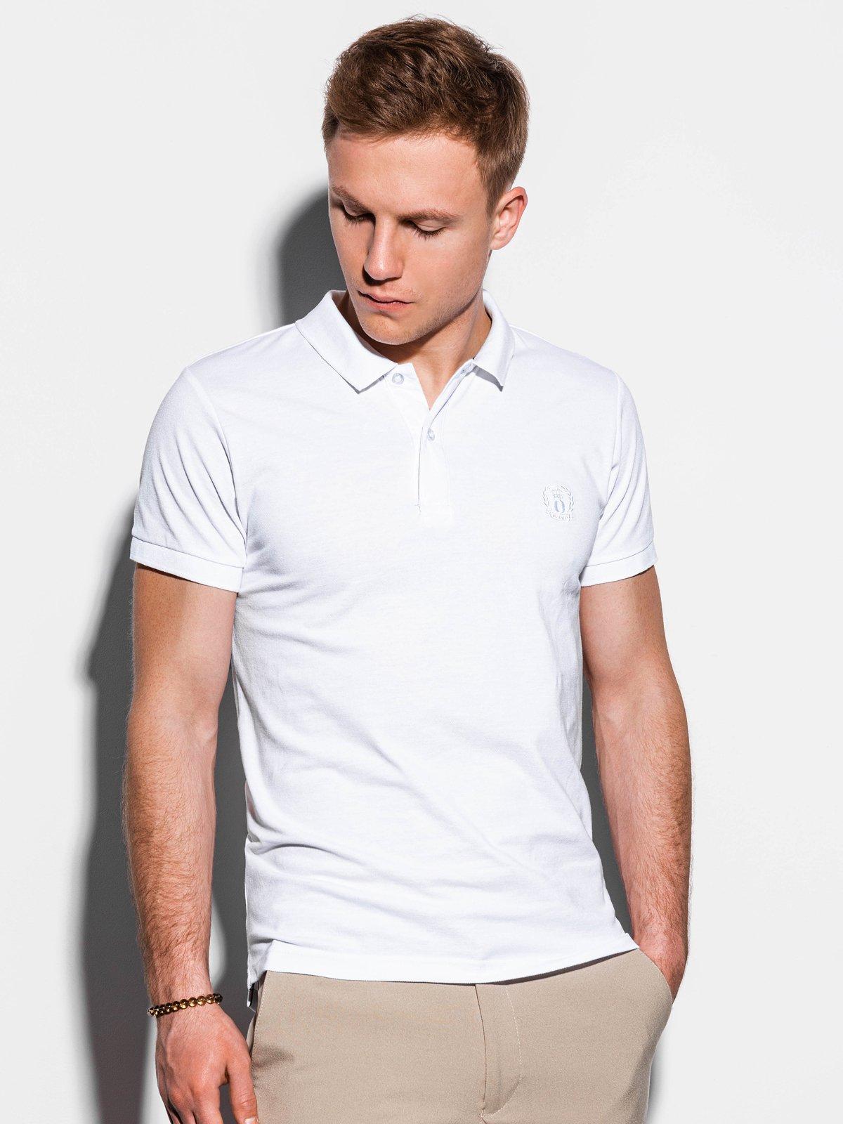 Koszulka męska Polo beznadruku S1048 - biała