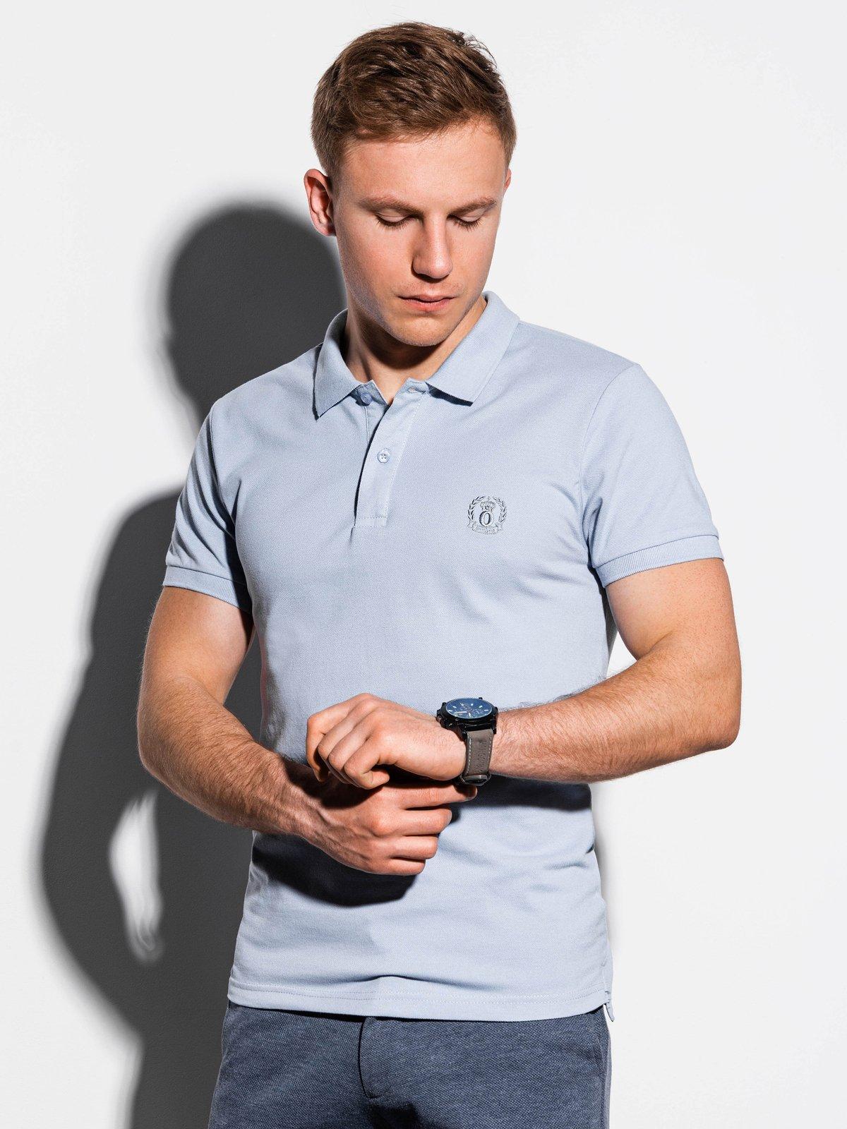 Koszulka męska Polo beznadruku S1048 - błękitna