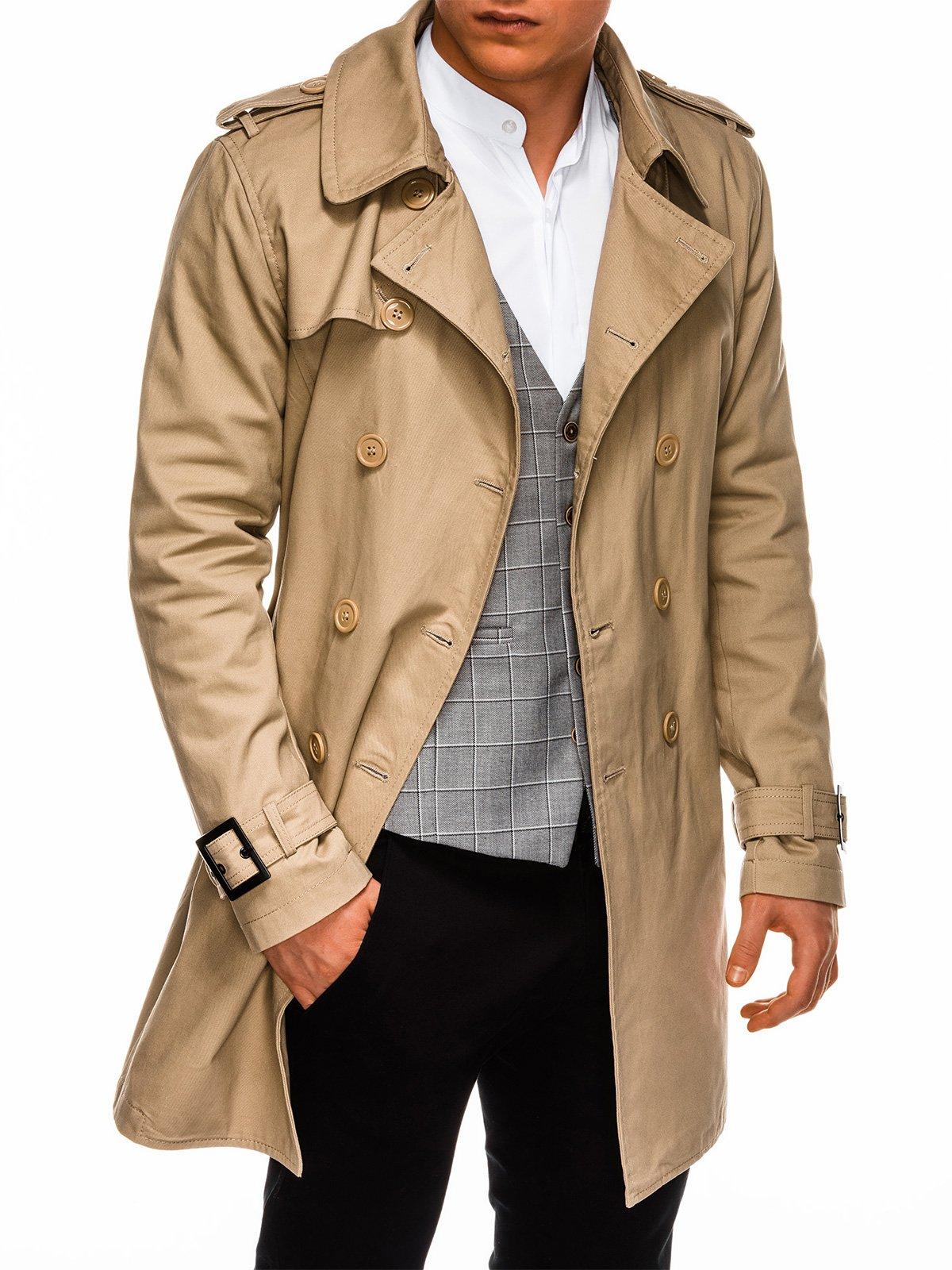 Płaszcz męski jesienny C346 - beżowy