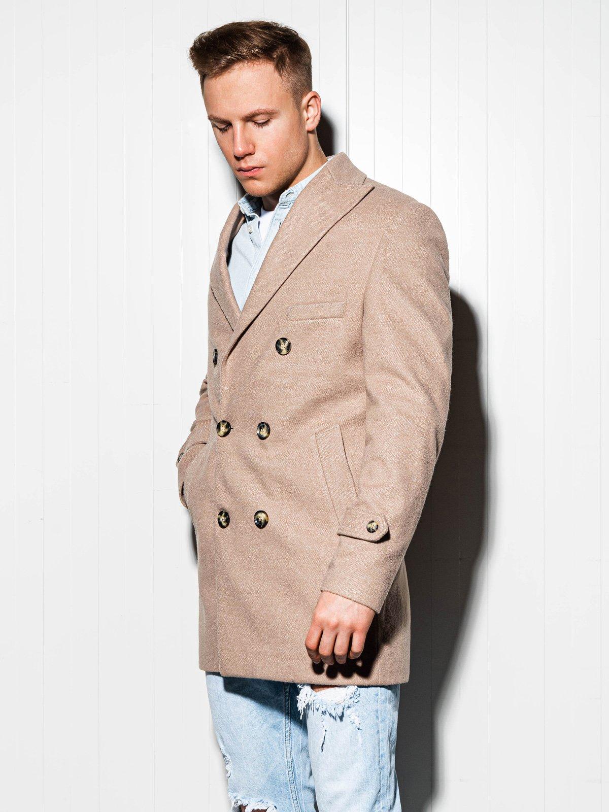 Płaszcz męski oversize C429 - beżowy