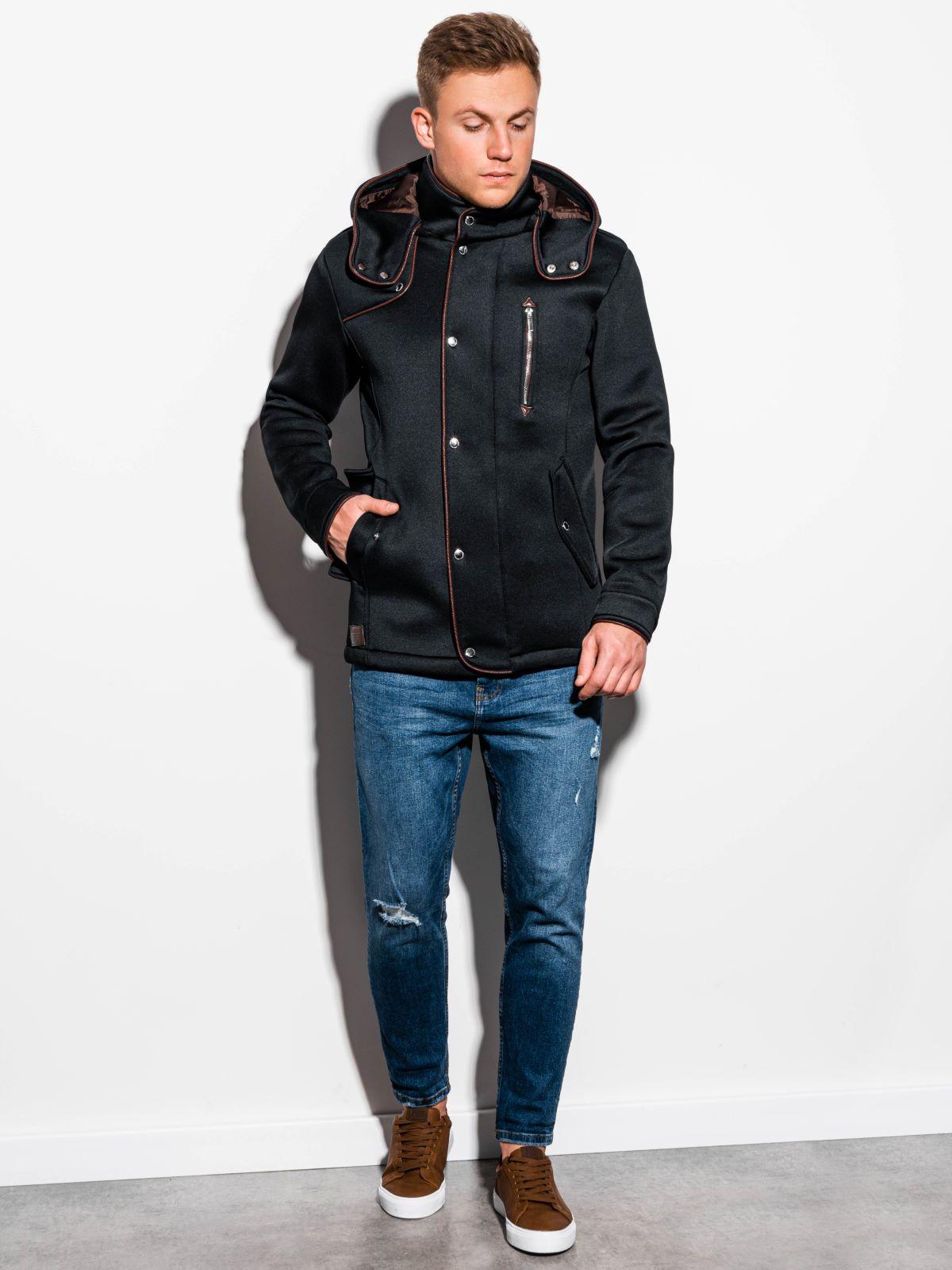 Płaszcz męski zkapturem C200 - czarny