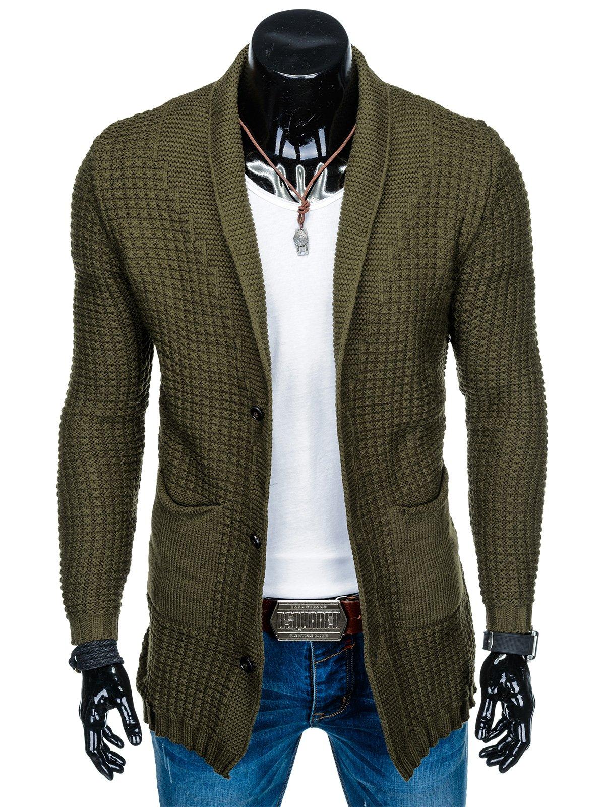 f033cfdb2b548 Sweter męski rozpinany E119 - khaki - Sklep Ombre