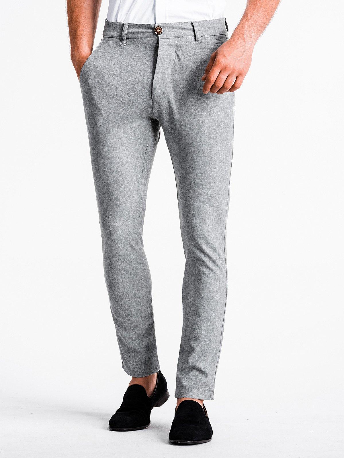 Spodnie męskie chino P832 - jasnoszare