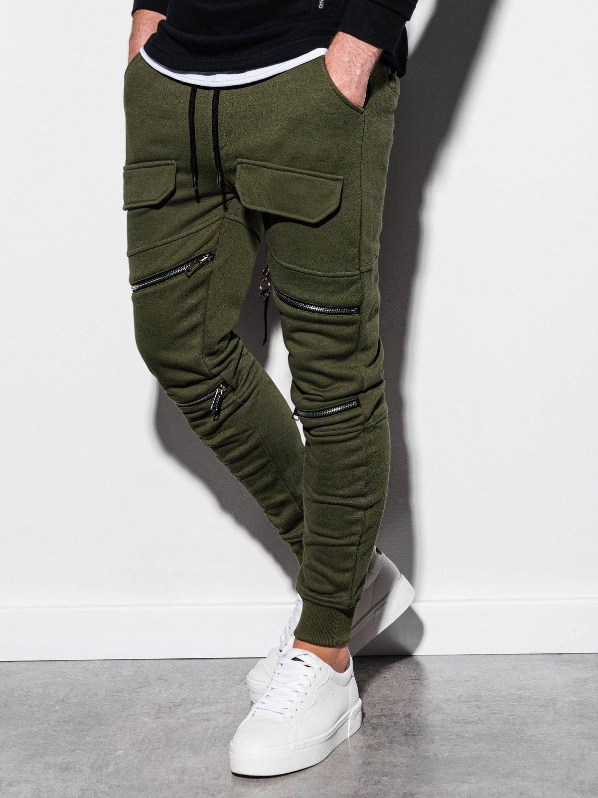 Spodnie męskie dresowe P821 - oliwkowe