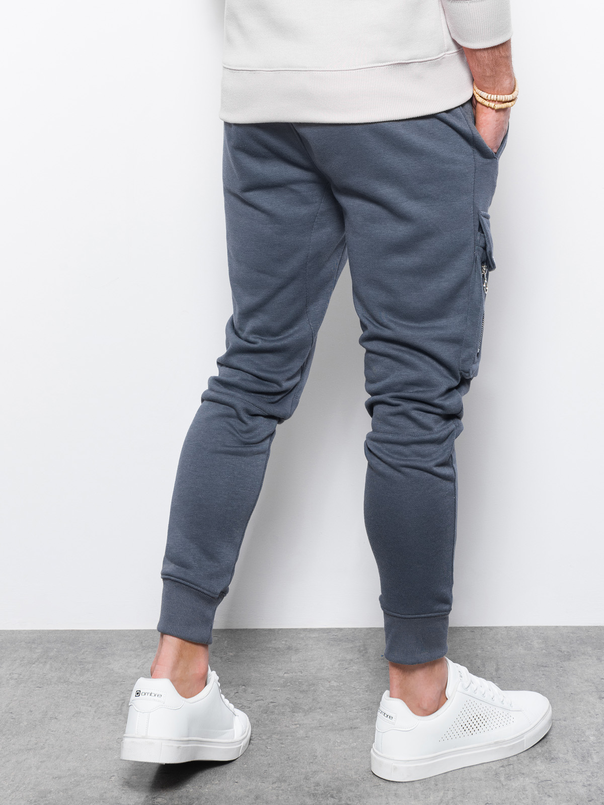 Spodnie męskie dresowe P905 - grafitowe