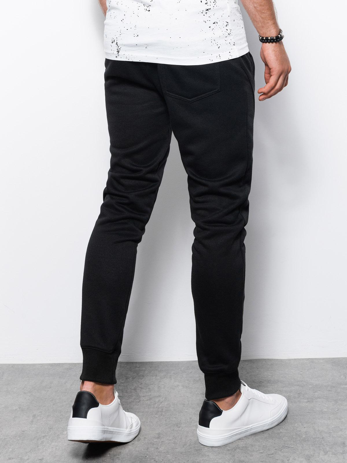 Spodnie męskie dresowe joggery P867 - czarne