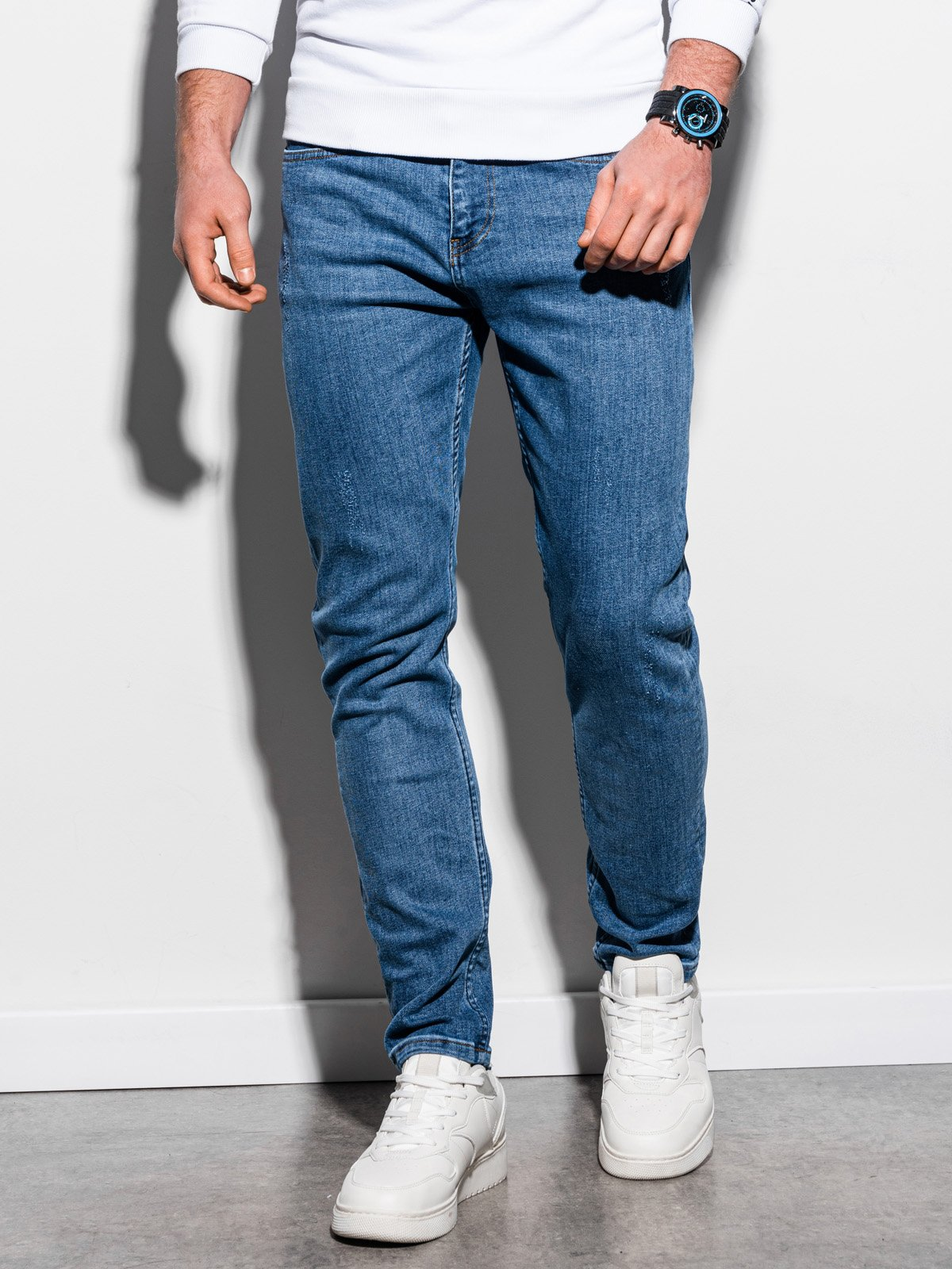 Spodnie męskie jeansowe P940 - jasnoniebieskie