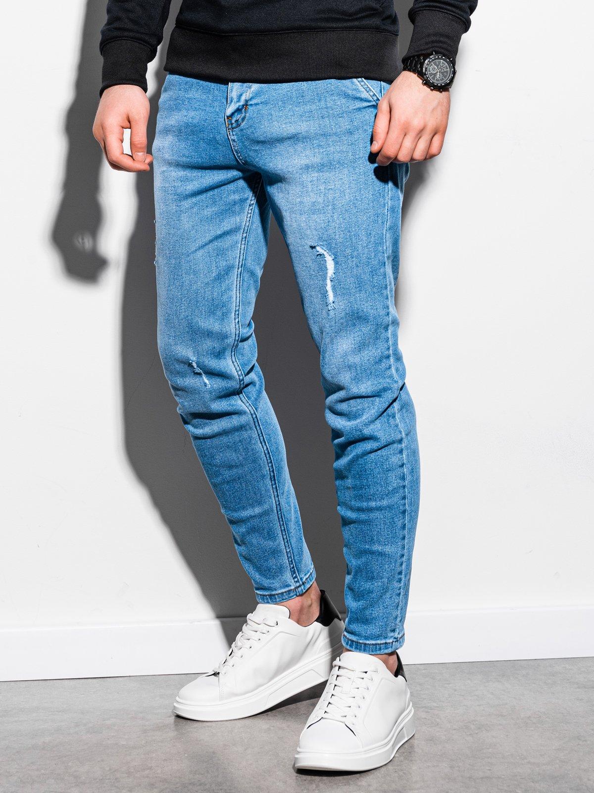 Spodnie męskie jeansowe P953 - jasnoniebieskie