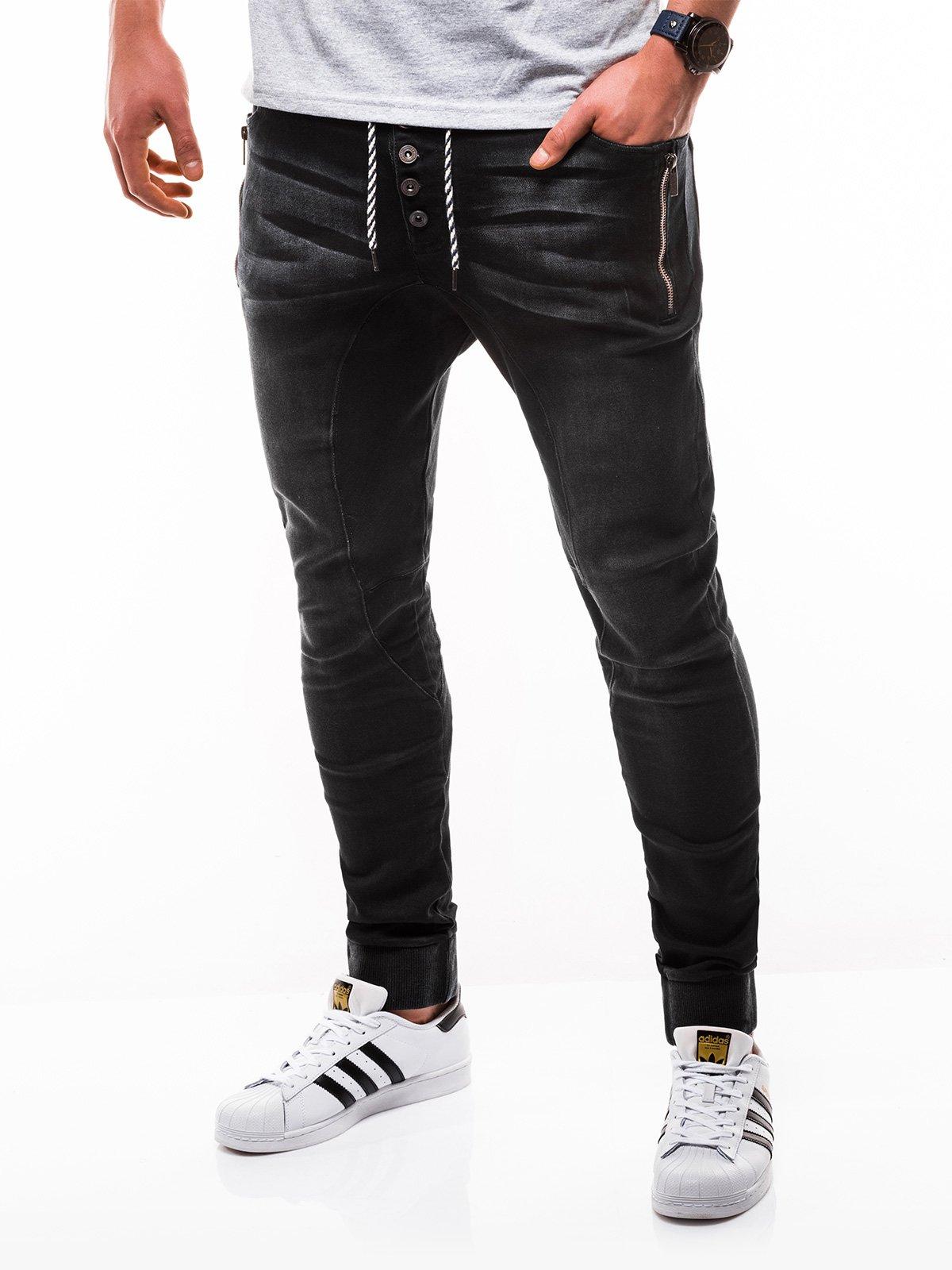 6f6b657c8a2d57 Spodnie męskie jeansowe joggery P198 - czarne - Sklep Ombre