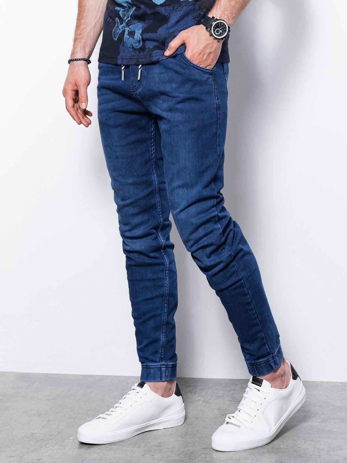 Spodnie męskie jeansowe joggery P907 - niebieskie