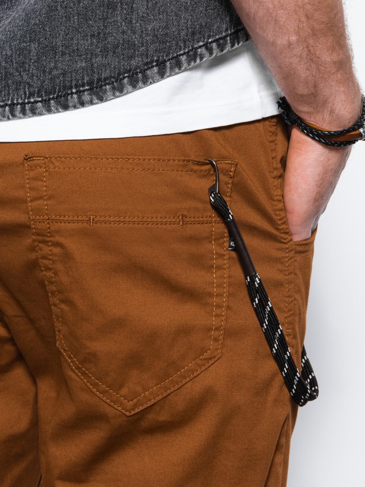 Spodnie męskie joggery P908 - brązowe