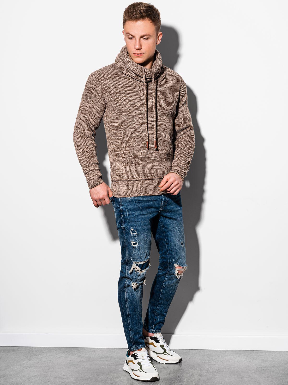 Sweter męski zgolfem E179 - czarny