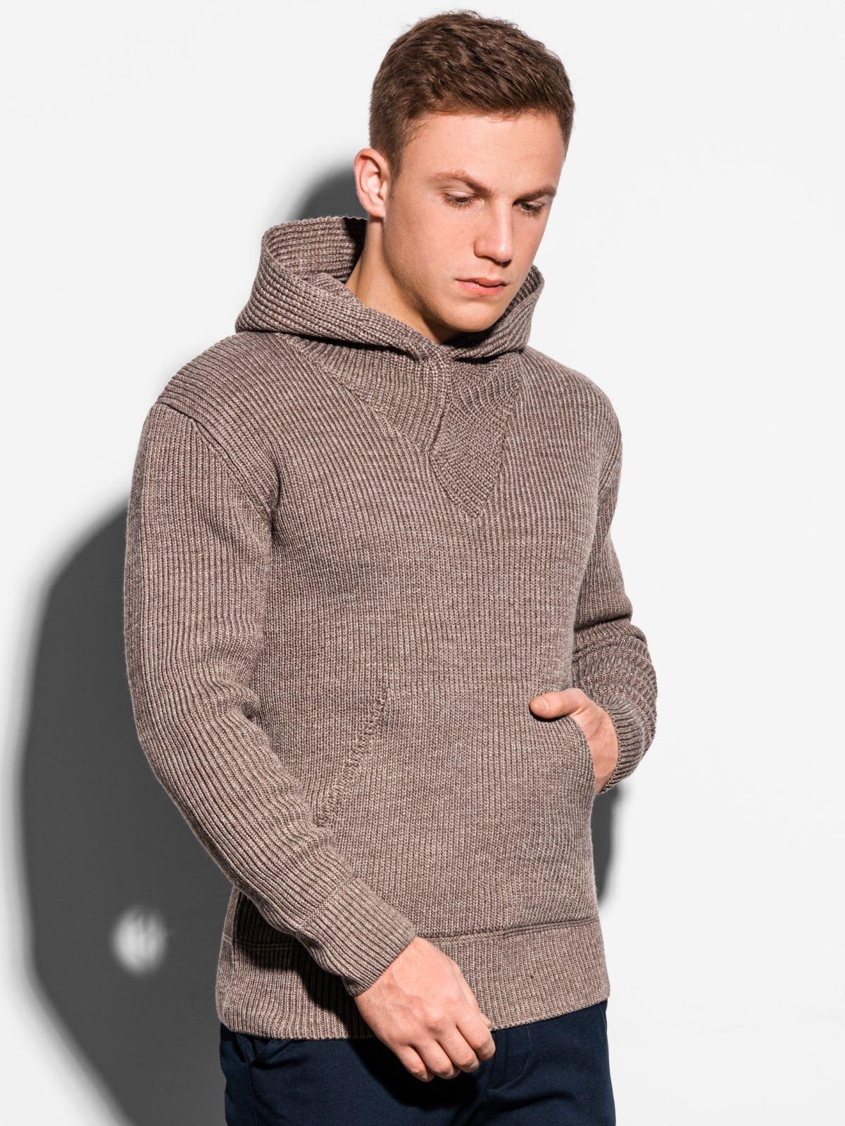 Sweter męski E181 - brązowy
