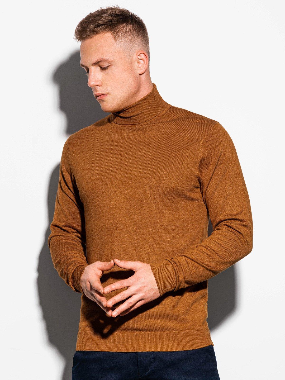 Sweter męski zgolfem E179 - camel