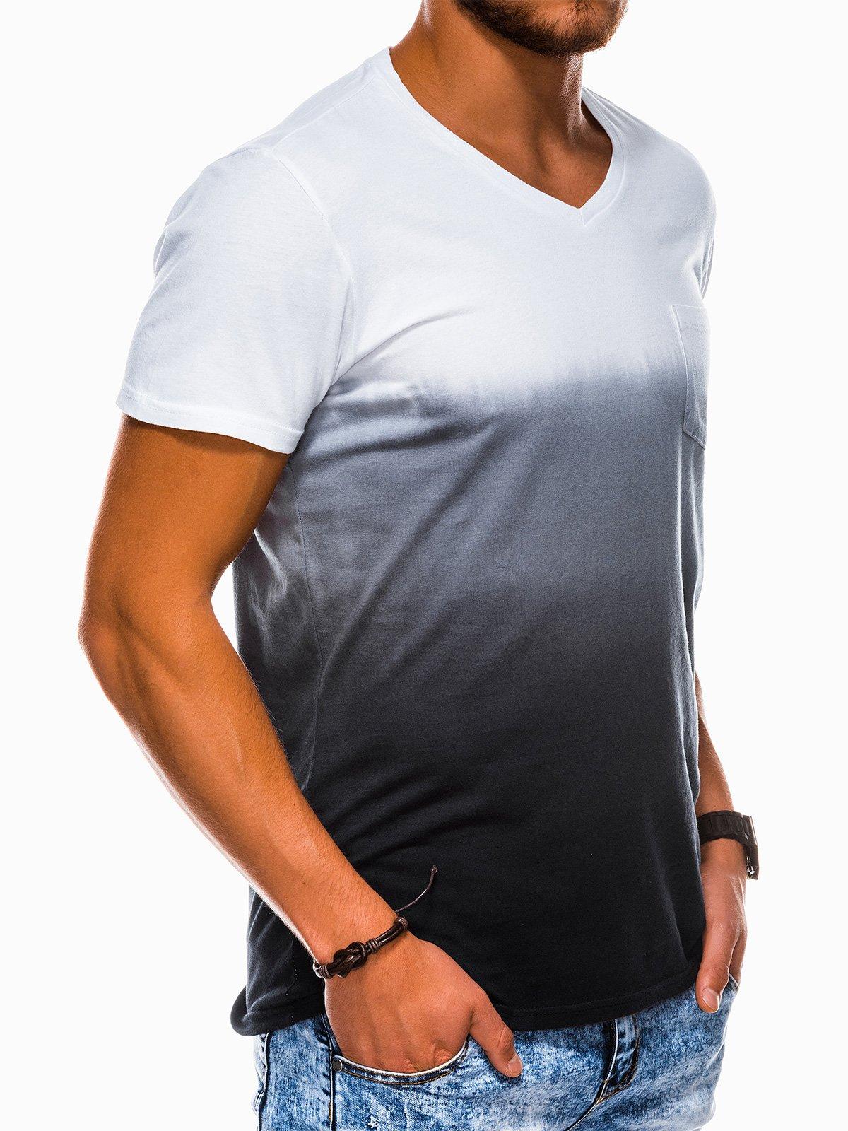 T shirt męski bez nadruku S1100 czarny Sklep Ombre.pl
