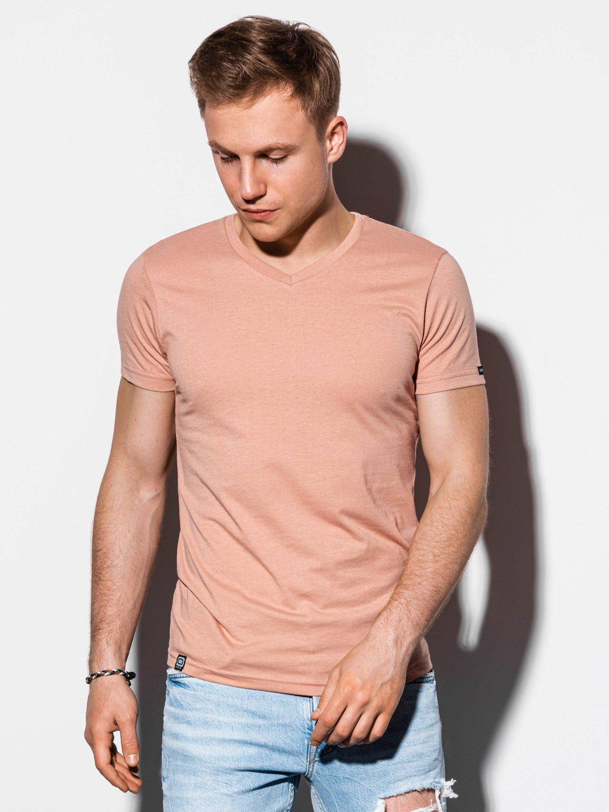 T-shirt męski beznadruku S1041 - beżowy