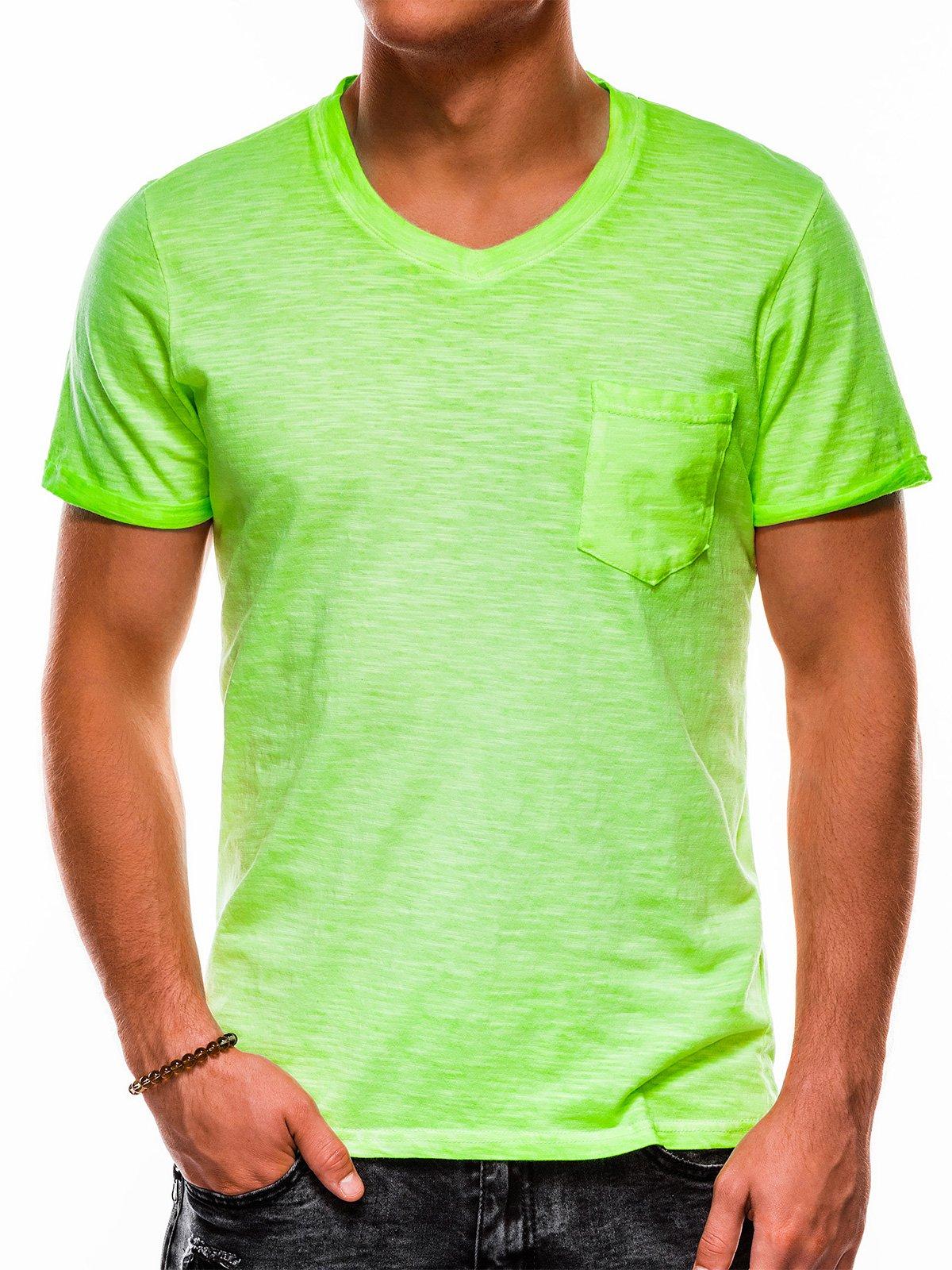 T-shirt męski beznadruku S1053 - zielony