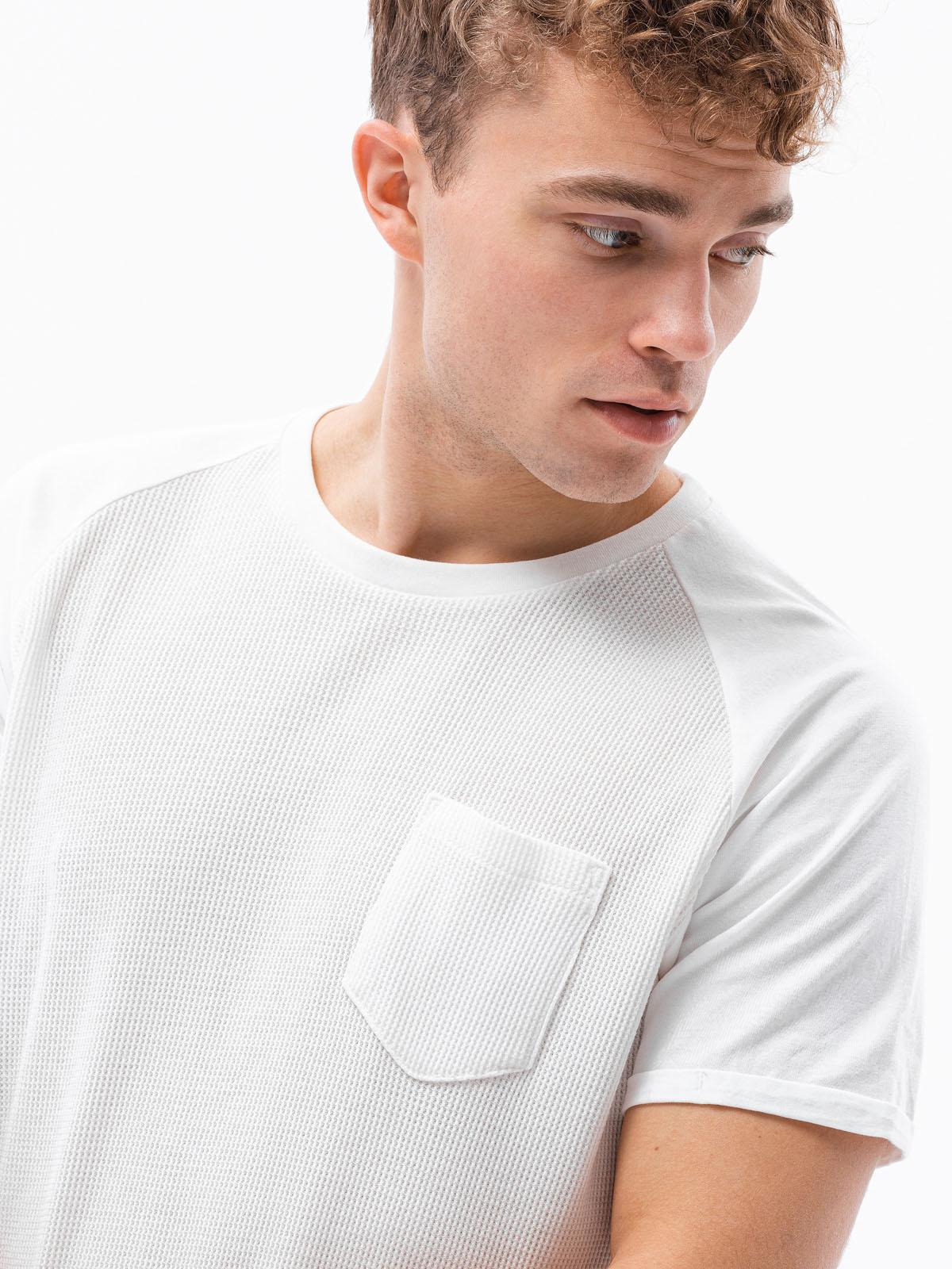 T-shirt męski beznadruku S1182 - biały