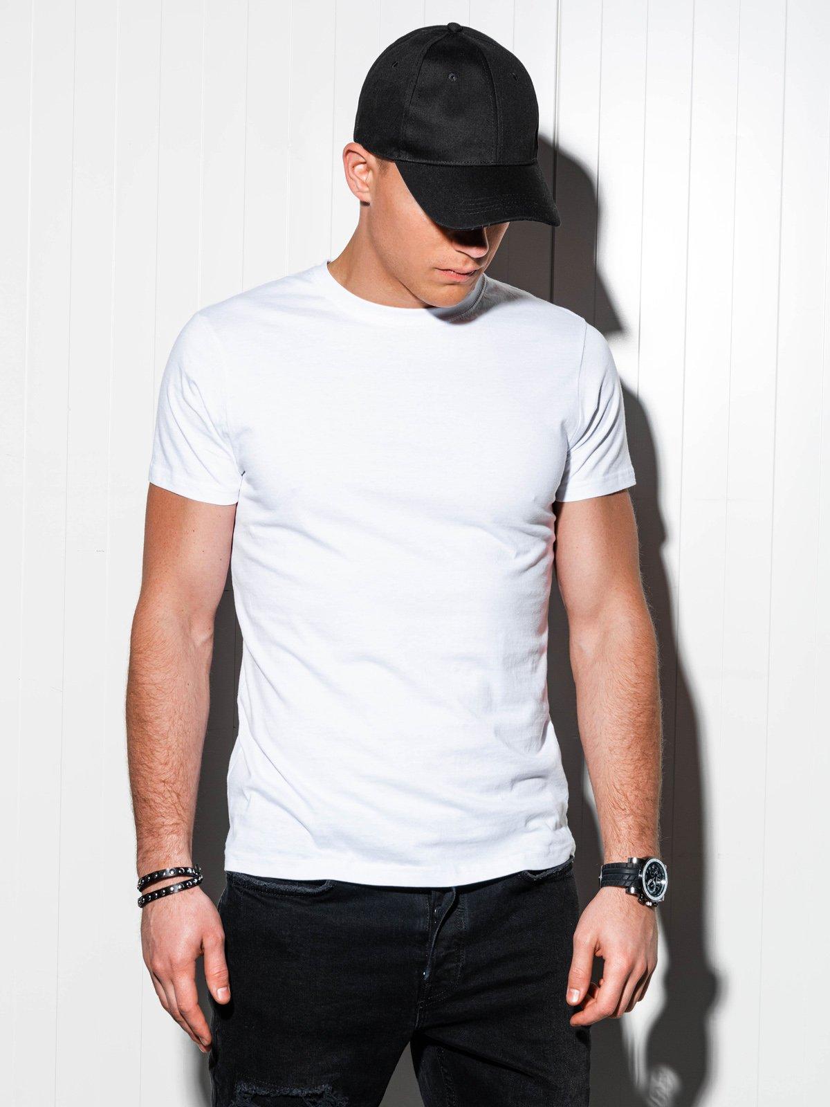 T-shirt męski beznadruku S884 - biały