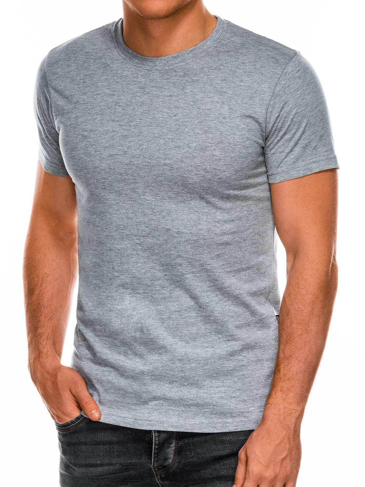 T-shirt męski beznadruku S884 - szary