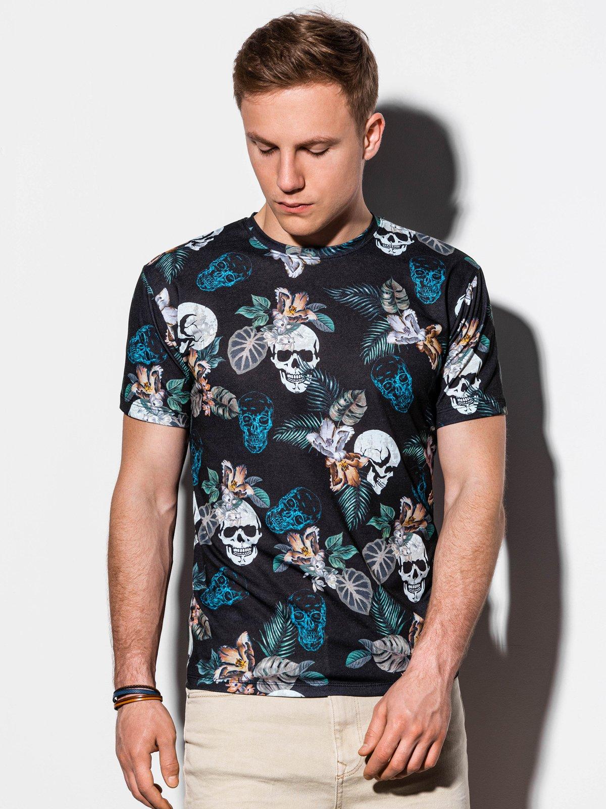 T-shirt męski znadrukiem S1222 - czarny