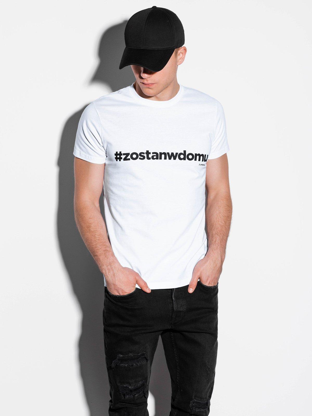 T-shirt męski S1225 - biały