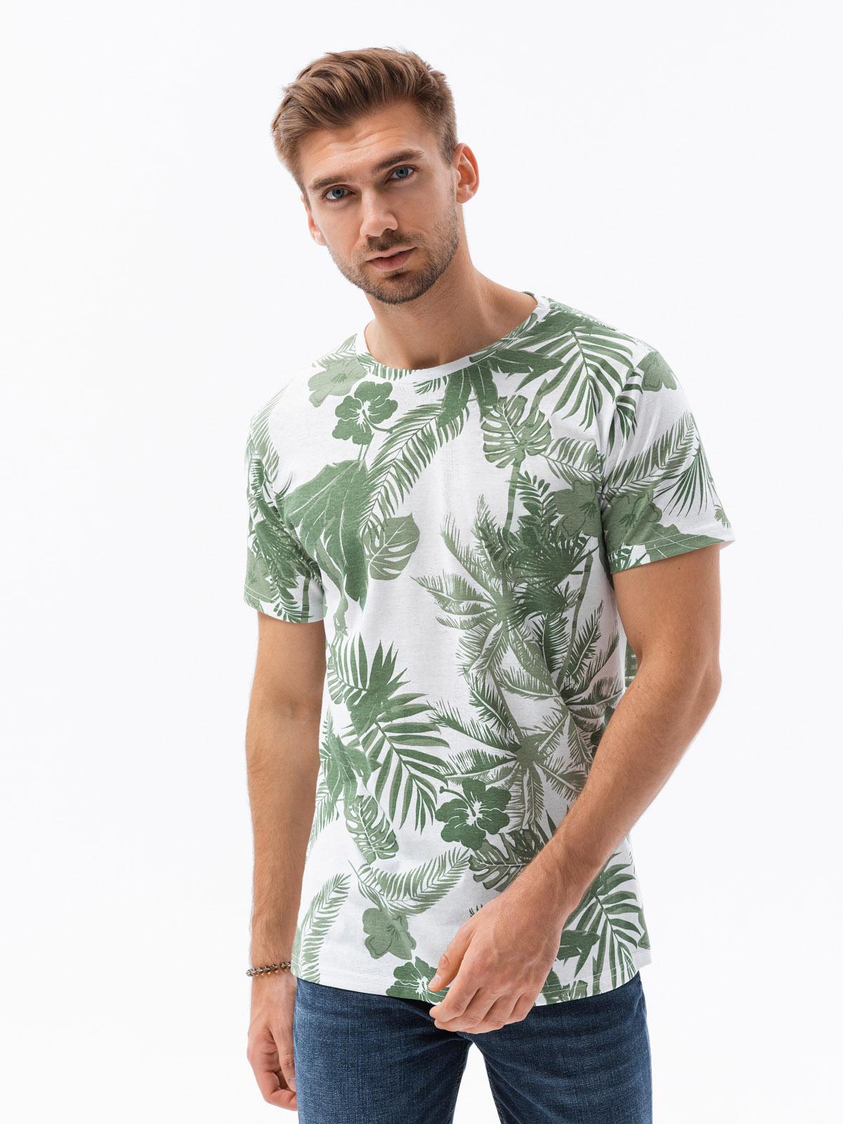 T-shirt męski znadrukiem S1297 - zielony