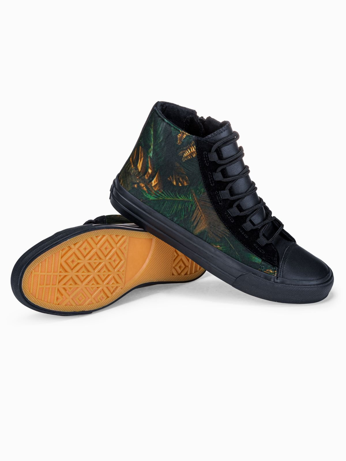 Trampki męskie sneakersy T347 - khaki/granatowe